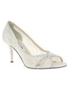 Really like this shoe!  https://www.theknot.com/fashion/fresh-ivory-main-nina-bridal-wedding-accessory