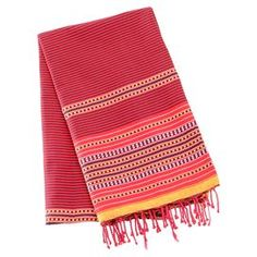 Striped cotton fouta towel. 100% Natural cotton, Red, lightweight and generously sized, soft and resistant to color fading. For a softer and more absorbent fouta, wash in cold water and tumble dry low twice before first use