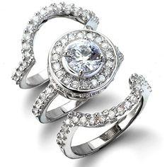 Cybill's Antique Style Three Ring CZ Wedding Set - Only $79.95 — Fantasy Jewelry Box