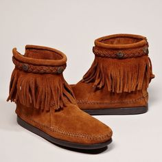 Minnetonka Hi Top Back Zip Boot ($55) ❤ liked on Polyvore featuring shoes, boots, ankle booties, brown, studded boots, suede fringe boots, fringe boots, suede booties and brown fringe booties