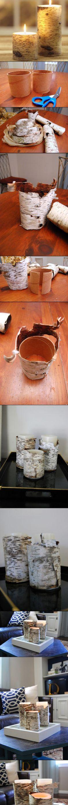 DIY Birch Bark Candles | #DIY