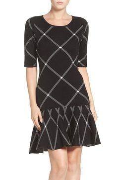 Ivanka Trump Plaid Jacquard Knit Fit & Flare Dress available at #Nordstrom