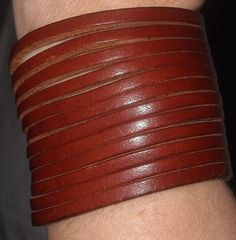 $7.99 & Ships Free!  Picky Poo Unique and Interesting Stacked Leather Bracelet Band Size Small #PickyPoo #Cuff