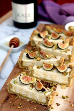 Fig Mascarpone Tart With Pistachio Black Pepper Crust.  Lets try to make a vegan version