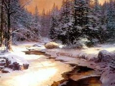 I am not usually fond of Thomas Kinkade pictures, but some of them are really great. If he leaves out the glowing windows and pink bushes, you can see he really is a fine artist. Winter's End by Thomas Kinkade