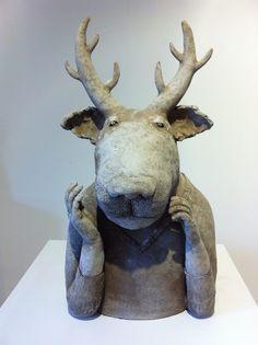 Sophie Favre - Saint-Quentin de la Poterie | Festival Européen des Arts Céramiques Egyptian Era, Saint Quentin, Sculpture Clay, Ceramic Artists, Folk Art, Deer, Creations, Arts, Figurative
