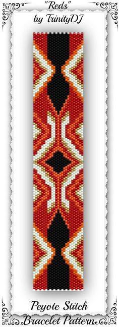 "New Listing: Odd Count Peyote Stitch Bracelet Design: "" REDS"" - Please follow this link for the direct download: https://www.etsy.com/listing/168582963/bp-ab-124-reds-odd-count-peyote-stitch?ref=shop_home_active"