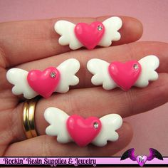 5 Pcs HEART WITH WINGS Flatback Kawaii Decoden Cabochons 29x13mm