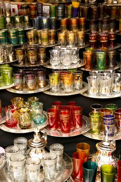 Colorful glassware at a market in Marrakech Morocco; photo Jennifer Laceda Tartine and Apron Strings Moroccan Design, Moroccan Decor, Moroccan Style, Moroccan Colors, Moroccan Interiors, Style Marocain, Tea Glasses, High Tea, Chai