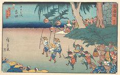 "Yoshida, ca.1840 by Utagawa Hiroshige (Japanese, 1797–1858), Edo period. Polychrome woodblock print; ink and colour on paper, 8 3/4 x 13 3/4"" (22.2 x 34.9cm). The Francis Lathrop Collection"