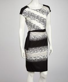 Take a look at this Black & Gray Snakeskin Cap-Sleeve Dress by AA Studio on #zulily today!$21.99, regular 44.00