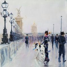 """Pont Alexandre"" (🔴 SOLD) By: Kamiar Gajoum Paris, parisian Fashion, going for a stroll Parisian Style, Parisian Fashion, Vancouver, Louvre, Street, Gallery, Artist, Travel, Paintings"