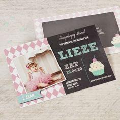 Rechthoekige fotokaart met ruitjesmotief en cupcake | Tadaaz