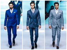Para casamento diurnos, ou com início no fim da tarde, o terno azul é uma excelente opção. É sempre possível encontrar um tom de azul que se encaixe com o estilo do casamento e do noivo. O azul combina com quase todos os homens, é uma das cores mais democráticas por ter muitos tons. É