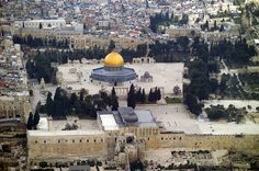 Aerial view of the Temple Mount with the Dome of the Rock and the Al-Aqsa…