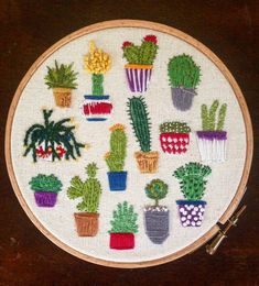 Cacti Embroidery Kit by BrittanyDaviesArt on Etsy | Modern Embroidery Kits for Beginners