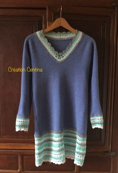Worn out knitted lambswool sweater XXL converted by Centina K. into a dress size M with crochet edges, yarn from my late mother's boxes, @CentLovesColour 30.01.2017.