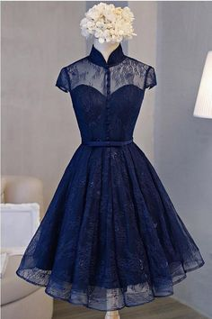 High Neck Prom Dresses, Lace Prom Dresses, Navy Homecoming Dress, A-Line Prom Dresses, Short Prom Dresses Navy Blue Homecoming Dress, Vintage Homecoming Dresses, Blue Homecoming Dresses, Open Back Prom Dresses, Dresses Short, A Line Prom Dresses, Prom Party Dresses, Sexy Dresses, Evening Dresses
