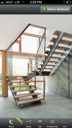 Another option for the staircase design. I especially love the detail of the vertical wires and open stairs (metal underneath, not on the sides of the rungs) Steel Stairs Design, Home Stairs Design, Railing Design, Interior Stairs, House Design, House Staircase, Modern Staircase, Staircase Ideas, Open Stairs