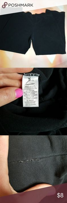 """Capezio Jazz and/or Yoga Capris Black Capezio jazz and/or yoga capris - I used these over my leotard for my jazz classes back in the day ❤  Small holes beginning to pull at inner thigh seams (shown) so I probably wouldn't trust these at a yoga class or high impact cardio/weights sesh, BUT they'd make a great pair of """"working around the house"""" bottoms...if those are a thing?! 😂  Waist ~ 14.5"""" Inseam ~ 24"""" Leg opening ~ 16"""" Rise ~ 10.5""""  90% Cotton/10% Lycra Spandex Capezio Pants Capris"""