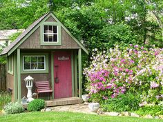 Shed with flower border