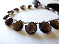 AAA SMOKEY Quartz Faceted Coin Briolettes 12mm  1 by CraftyMothers