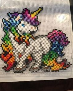 Rainbow unicorn perler beads by hopefulheart11