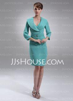 bdad722d3322 Sheath V-neck Knee-Length Chiffon Mother of the Bride Dresses - JJsHouse.  Wedding Maniacs