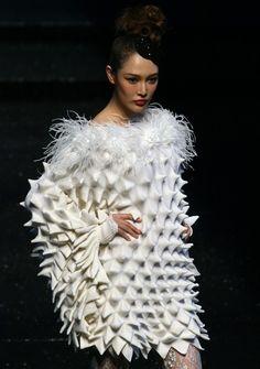 Sculptural Fashion - dress with dramatic 3D triangle textures - experimental fashion design; fashion as art // China Fashion Week 2011