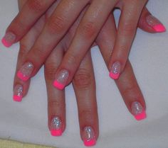 Glitter Acrylic Nails | Blue Glitter Acrylic and White Tips - Nail Art Archive - Style - NAILS ...