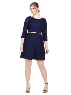 London Times | Navy Belted Dress In Mesh Chevron | Gwynnie Bee