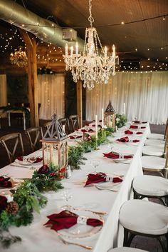 Rustic-Elegant Burgundy and Evergreen Holiday Inspired Wedding Christmas Wedding Centerpieces, Christmas Wedding Decorations, Holiday Wedding Ideas, Red And White Wedding Decorations, Christmas Wedding Dresses, Wedding Cross, Rustic Wedding, Wedding Greenery, Cowgirl Wedding
