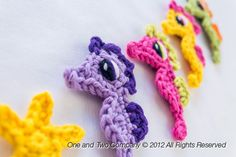 New PDF Crochet Pattern - Seahorse & Little Starfish Applique - Text instructions and SYMBOL CHART instructions. $3.75, via Etsy.
