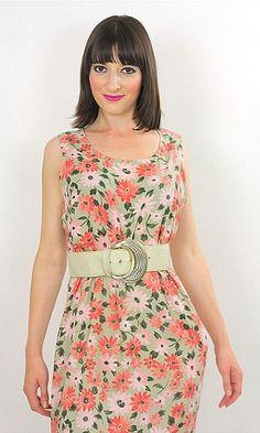 Vintage 80s Boho Hippie pastel floral maxi dress