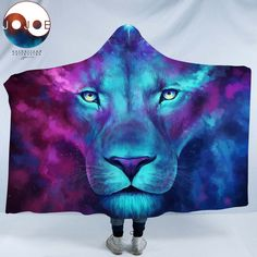 Wearable Hooded Blanket Vivid Lion Vibrant Animal Red Blue Super Soft Digital Print Hooded Throw Wrap Premium Fleece Warm Hooded Blanket Hooded Cloak for Adults and Children
