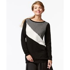 Charter Club Petite Cashmere Colorblocked Sweater ($90) ❤ liked on Polyvore featuring tops, sweaters, blocked chevron combo, color block top, white cashmere sweater, color block sweater, petite tops and colorblock cashmere sweater