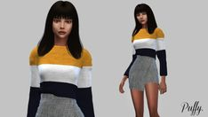 Puffy Stripe Sweater for The Sims 4