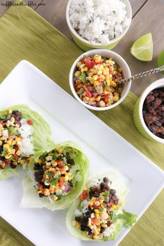 Black Bean Lettuce Wraps with Grilled Corn Salsa and Cilantro Lime Rice for #WeekdaySupper #ChooseDreams