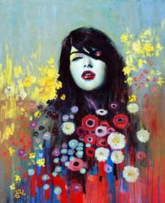 Incredible portrait paintings by Australian artist Emma Uber. Her series of pastel portraits involves beautifully detailed—and mainly feminine—faces that blend into backgrounds filled with thick, vibrant strokes, drips and smears of paint, and bursts of colorful shapes and flowers. Her use of a strong color palette and aggressive strokes, set against the soft features and expressionless faces, sparks an intense curiosity about each of her subjects.