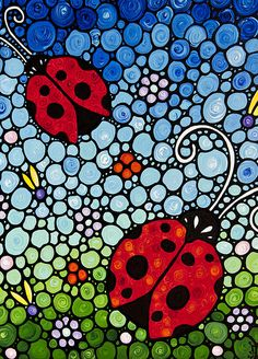 Inspiration for kid's art: Joyous Ladies Ladybugs Painting by Sharon Cummings - Joyous Ladies Ladybugs Fine Art Prints and Posters for Sale