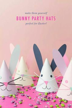 DIY bunny party hats Easter is just around the corner! That seems crazy! You know we love party hats and we couldn't resist creating some bunny party hats for your Easter celebration or Spring party! Aren't they just the cutest? Easy Easter Crafts, Diy And Crafts Sewing, Bunny Crafts, Easter Crafts For Kids, Easter Decor, Easter Birthday Party, Bunny Birthday, Birthday Parties, Birthday Hats