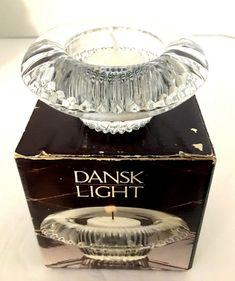 """Dansk Fluted Crystal Votive Candle Holder Jens Quistgaard 3.5"""" diam Orig Box EUC #Dansk #MidCenturyModern"""