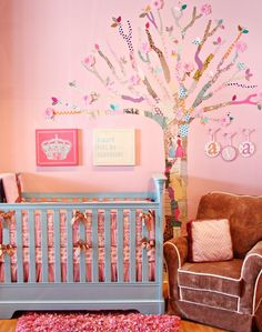The Caden Lane Modern Vintage Dylan bedding with a decoupage tree at Nursery Couture!