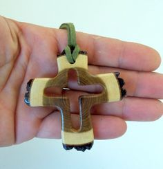 NEW Handmade Wood Pendant empty cross Wood by forestinspiration, $25.00