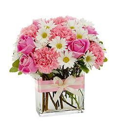 mothers day floral arrangements | modern mother s day flower arrangement with pink roses pink ...