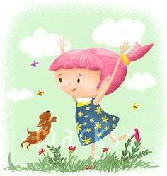 Fun illustration done for the colour_collective challenge. Spring, dog, illustration, pink hair, character, kidlitart