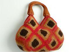 Crochet handbag NzLbagsFelted Wool Crochet Granny by NzLbags, $95.00