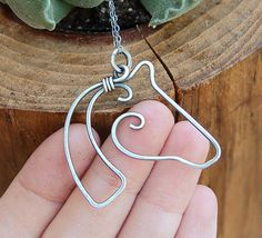 Horse Necklace. Sterling Silver. Oxidized. Wire Jewelry.....I like this design as well as mine......