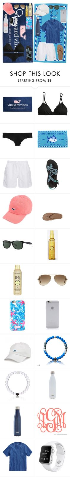 """•contest entry•"" by simply-preppy-girl ❤ liked on Polyvore featuring Vineyard Vines, J.Crew, Chaco, Rainbow, Ray-Ban, Sun Bum, Lilly Pulitzer, Native Union, Everest and S'well"