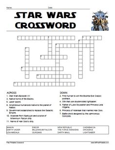 Star Wars Crossword